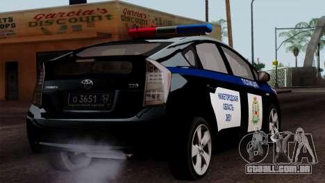 Toyota Prius ДПС para GTA San Andreas esquerda vista