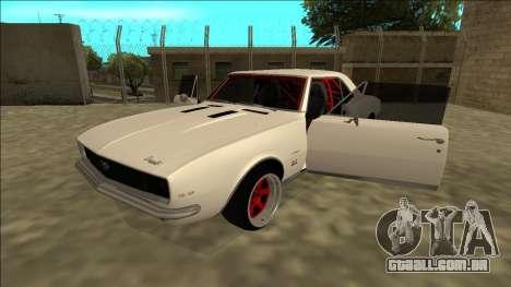 Chevrolet Camaro SS Drift para GTA San Andreas vista traseira