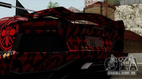 Lamborghini Aventador LP-700 Batik para GTA San Andreas vista interior