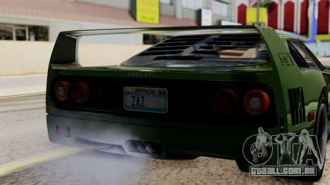 Ferrari F40 1987 with Up without Bonnet IVF para GTA San Andreas vista traseira