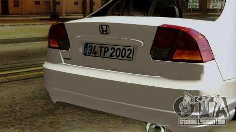 Honda Civic 2005 para GTA San Andreas vista interior