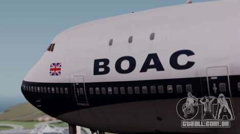 Boeing 747-100 British Overseas Airways para GTA San Andreas vista traseira