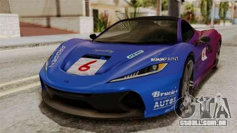 GTA 5 Progen T20 SA Style para GTA San Andreas vista traseira