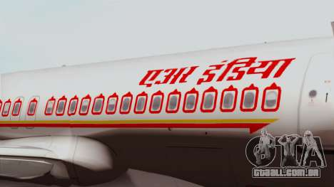 Airbus A320-200 Air India para GTA San Andreas vista traseira