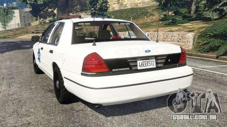 GTA 5 Ford Crown Victoria 1999 Police v0.9 traseira vista lateral esquerda