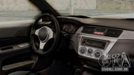 Mitsubishi Lancer Evolution v2 para GTA San Andreas vista direita