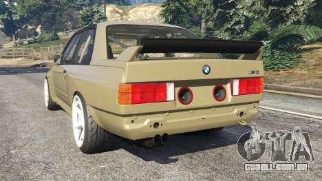GTA 5 BMW M3 (E30) 1991 Drift Edition v1.0 traseira vista lateral esquerda