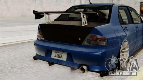 Mitsubishi Lancer Evolution v2 para GTA San Andreas vista interior