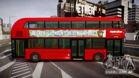 Wrightbus New Routemaster Metroline para GTA 4 esquerda vista