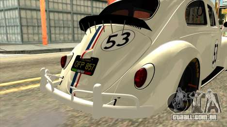 Volkswagen Beetle Herbie Fully Loaded para GTA San Andreas vista traseira
