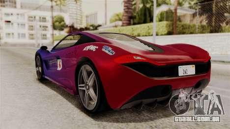 GTA 5 Progen T20 SA Style para GTA San Andreas vista interior