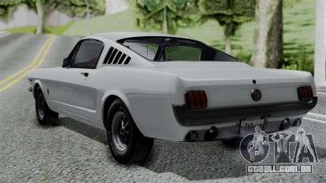 Ford Mustang Fastback 289 1966 para GTA San Andreas esquerda vista