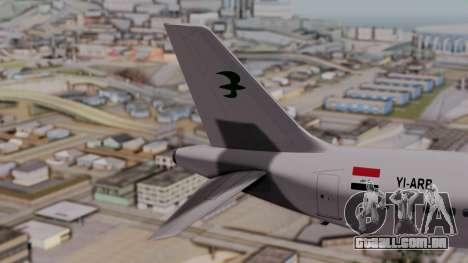 Airbus A320-200 Iraqi Airways para GTA San Andreas traseira esquerda vista