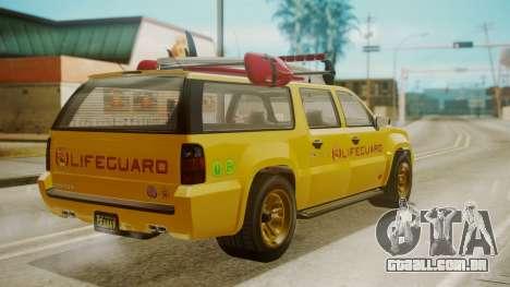 GTA 5 Declasse Granger Lifeguard para GTA San Andreas esquerda vista