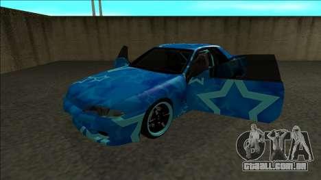 Nissan Skyline R32 Drift Blue Star para GTA San Andreas vista traseira