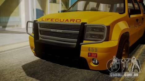 GTA 5 Declasse Granger Lifeguard IVF para GTA San Andreas vista traseira