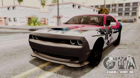 Dodge Challenger SRT Hellcat 2015 HQLM PJ para GTA San Andreas vista interior