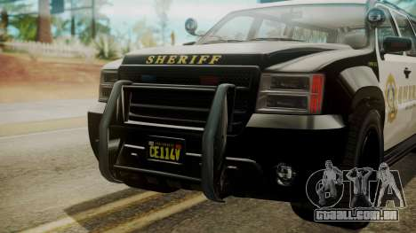 GTA 5 Declasse Granger Sheriff SUV IVF para GTA San Andreas vista traseira