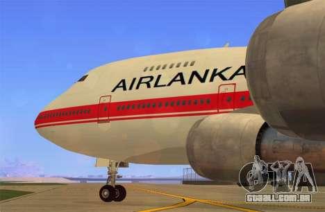 Boeing 747-200 Air Lanka para GTA San Andreas traseira esquerda vista