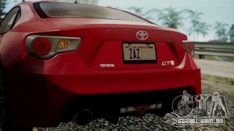 Toyota GT86 2012 LQ para GTA San Andreas vista inferior