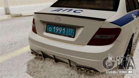 Mercedes-Benz C63 AMG STSI o Ministério de Assun para GTA San Andreas vista traseira