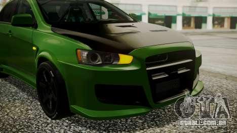 Mitsubishi Lancer Evolution X WBK para GTA San Andreas vista interior