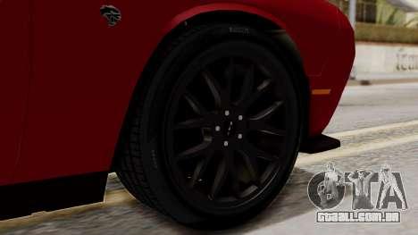 Dodge Challenger SRT Hellcat 2015 HQLM para GTA San Andreas traseira esquerda vista