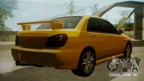 Subaru Impreza WRX GDA para GTA San Andreas esquerda vista