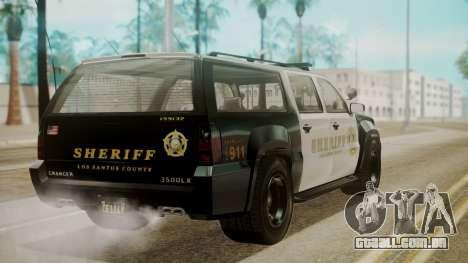 GTA 5 Declasse Granger Sheriff SUV para GTA San Andreas esquerda vista