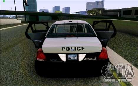 Weathersfield Police Crown Victoria para GTA San Andreas vista inferior