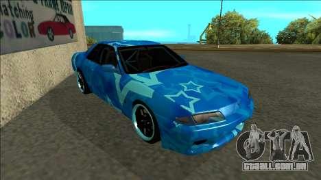 Nissan Skyline R32 Drift Blue Star para GTA San Andreas esquerda vista