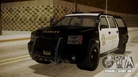 GTA 5 Declasse Granger Sheriff SUV para GTA San Andreas traseira esquerda vista
