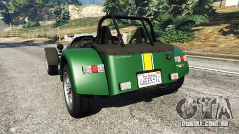 GTA 5 Caterham Super Seven 620R v1.5 [green] traseira vista lateral esquerda