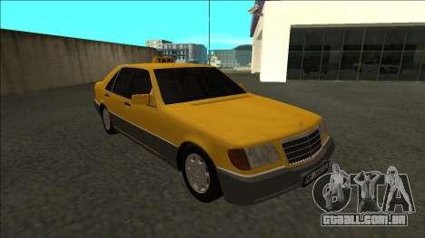 Mercedes-Benz W140 500SE Taxi 1992 para GTA San Andreas vista traseira