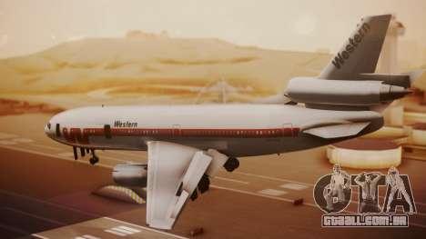 DC-10-10 Western Airlines para GTA San Andreas esquerda vista