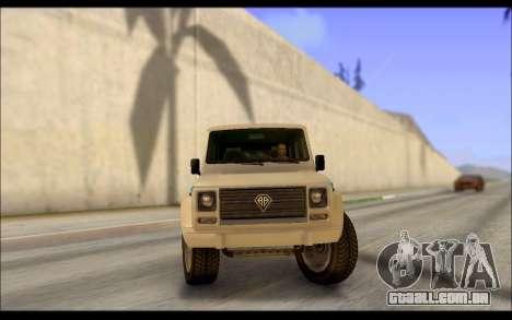 Benefactor Dubsta Jurassic Mundo Paintjob para GTA San Andreas traseira esquerda vista