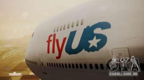 Boeing 747-200 Fly US para GTA San Andreas vista traseira