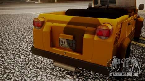 Volkswagen Safari Type 181 para GTA San Andreas vista traseira