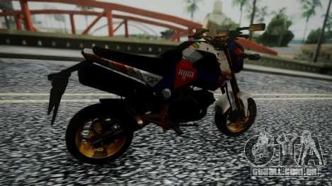 Honda MSX 125C Khmer para GTA San Andreas traseira esquerda vista