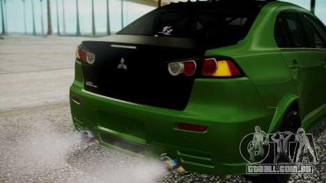 Mitsubishi Lancer Evolution X WBK para GTA San Andreas vista superior