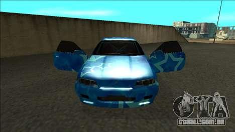 Nissan Skyline R32 Drift Blue Star para GTA San Andreas vista interior