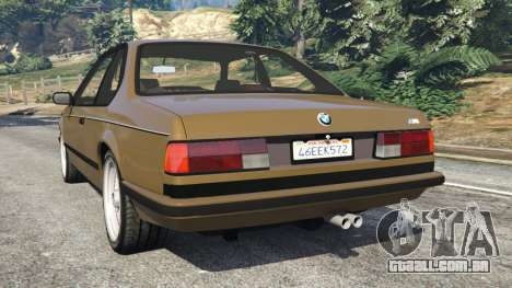 GTA 5 BMW M635 CSI (E24) 1986 traseira vista lateral esquerda