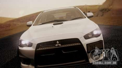 Mitsubishi Lancer Evolution X 2015 Final Edition para GTA San Andreas traseira esquerda vista