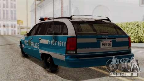 Chevy Caprice Station Wagon 1993-1996 NYPD para GTA San Andreas esquerda vista