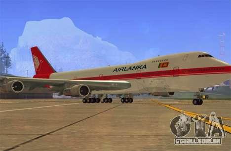 Boeing 747-200 Air Lanka para GTA San Andreas esquerda vista