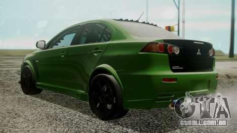 Mitsubishi Lancer Evolution X WBK para GTA San Andreas esquerda vista