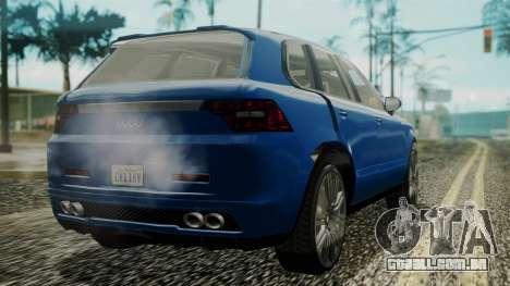 GTA 5 Obey Rocoto IVF para GTA San Andreas esquerda vista