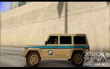 Benefactor Dubsta Jurassic Mundo Paintjob para GTA San Andreas esquerda vista
