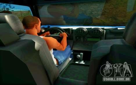 Hummer H6 para GTA San Andreas vista interior