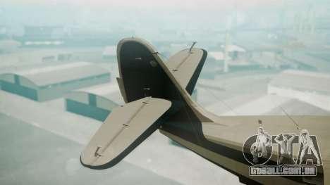 Grumman G-21 Goose Black and White para GTA San Andreas traseira esquerda vista